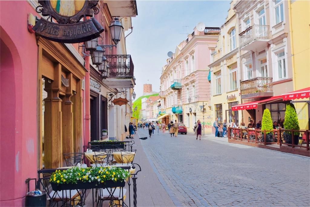 リトアニアの首都ヴィリニュスの街並み