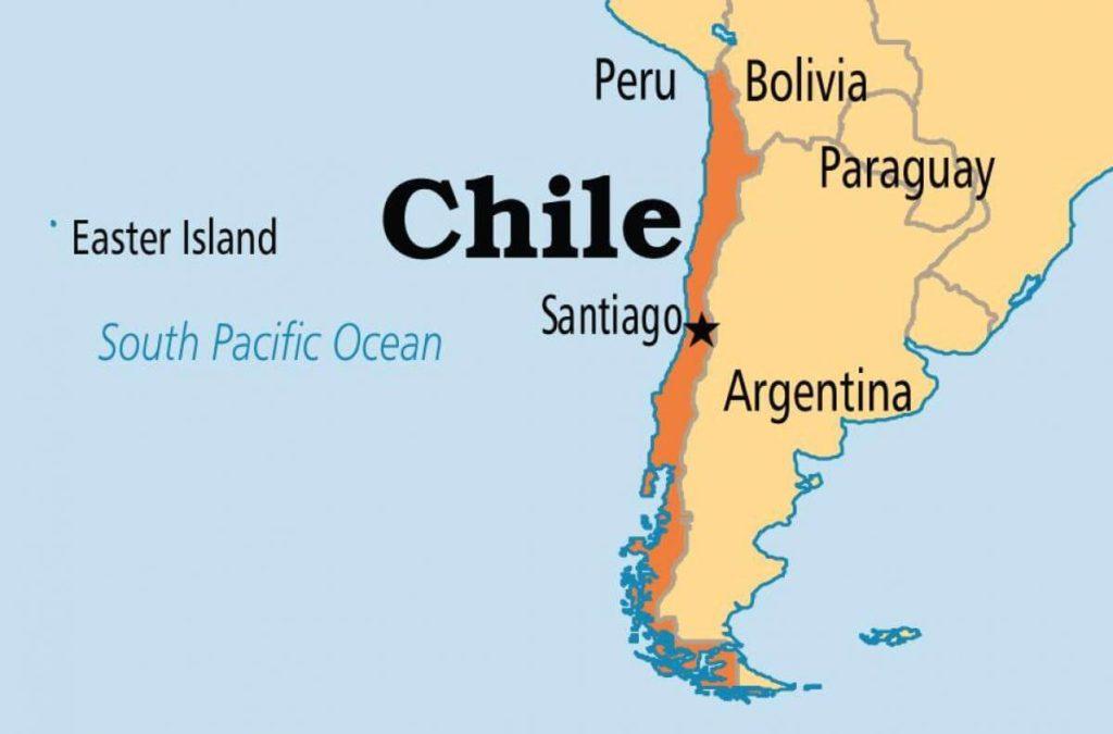 南アメリカのチリの地図