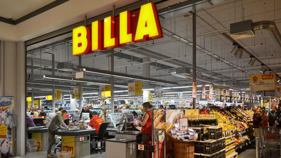 チェコのスーパー「BILLA」の店舗入り口