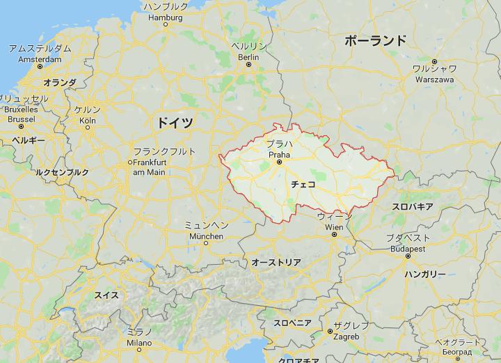チェコと周辺国の地図