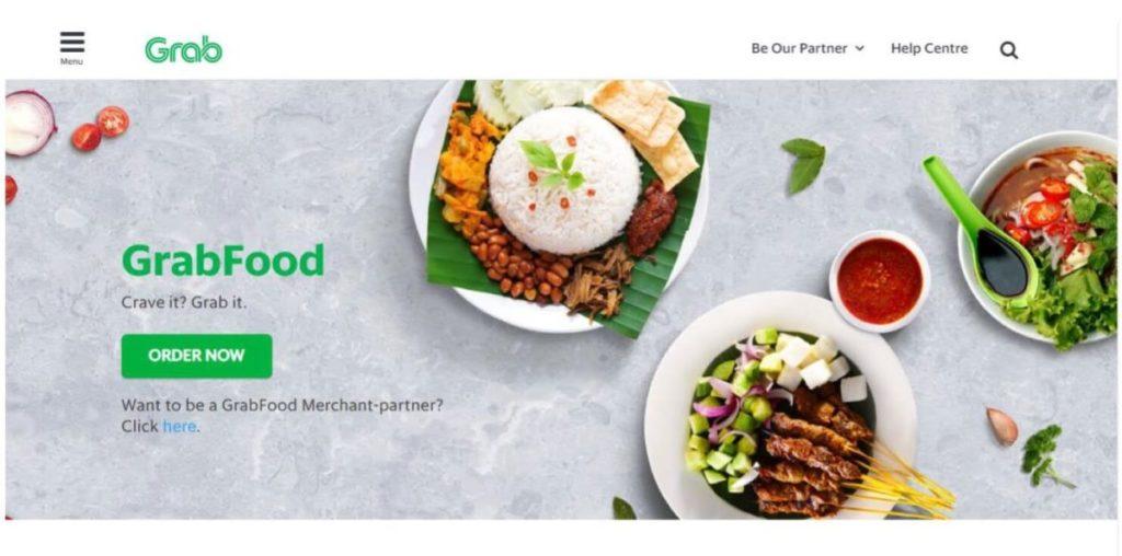 マレーシアのフードデリバリーサービス「GrabFood」の公式ホームページのホーム画面