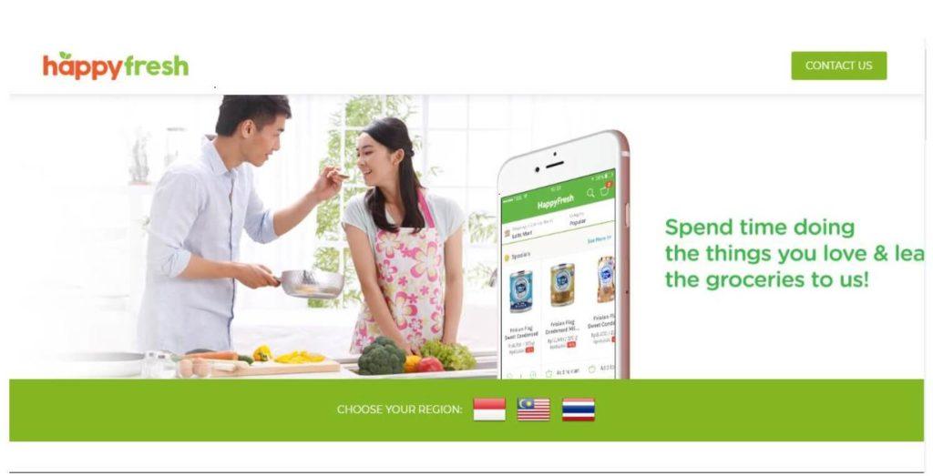 マレーシアのフードデリバリー「HappyFresh」の公式サイトのホーム画面