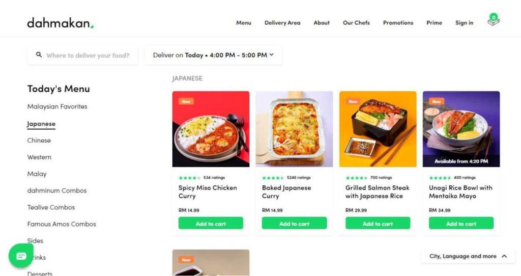 マレーシアのフードデリバリーサービス「dahmakan」の公式ホームページのホーム画面