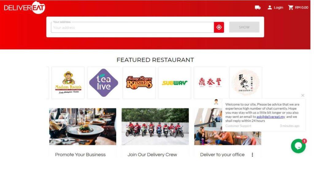 マレーシアのフードデリバリーサービス「DeliverEat」の公式ホームページのホーム画面