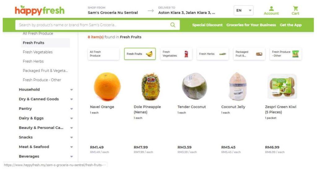 マレーシアのフードデリバリー「HappyFresh」の公式サイトの商品選択画面