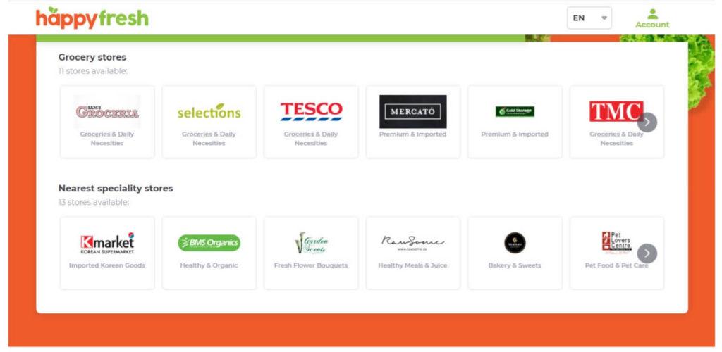 マレーシアのフードデリバリー「HappyFresh」の公式サイトの店舗一覧画面